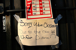 Sorry We Are Closed Due to the Unfair Ordinance