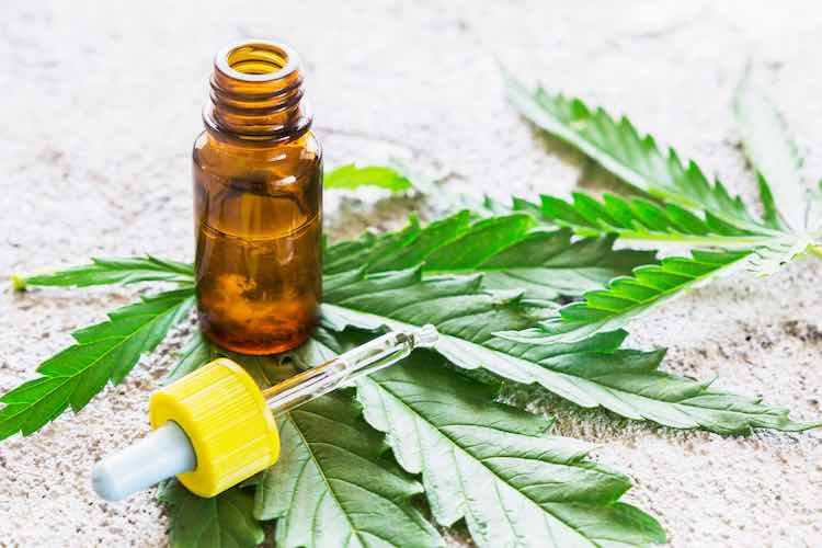 Cannabis oil bottle with dropper and leaf